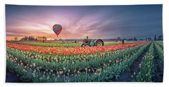 Beach Towel featuring the photograph Sunrise, Hot Air Balloon And Moon Over The Tulip Field by William Lee