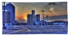 Sunrise In Detroit Mi Beach Towel by Nicholas  Grunas