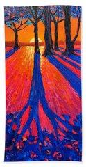 Sunrise In Glory - Long Shadows Of Trees At Dawn Beach Towel