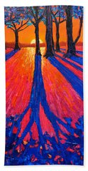 Sunrise In Glory - Long Shadows Of Trees At Dawn Beach Sheet by Ana Maria Edulescu