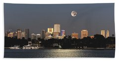 Sunrise Moon Over Miami Beach Towel