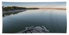 Sunrise On A Clear Morning Over Large Lake With Fog On Top, From Beach Towel