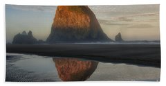 Sunrise On Haystack Rock - Oregon Beach Sheet by Sandra Bronstein