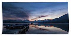 Beach Towel featuring the photograph Sunrise On Mcdonald Lake by Lon Dittrick
