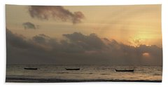 Sunrise On The Beach With Wooden Dhows Beach Towel