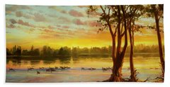 Beach Towel featuring the painting Sunrise On The Columbia by Steve Henderson