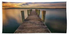 Sunrise On The Dock By The Peconic River Beach Towel