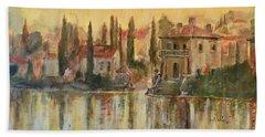 Sunrise On The Lake Beach Towel by Alan Lakin