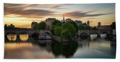 Sunrise On The Seine Beach Towel
