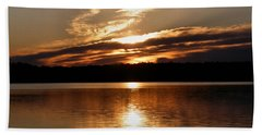 Sunrise On The Turtle Flambeau Flowage Beach Towel by Angie Rea