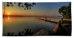Sunrise Over Cayuga Lake Beach Sheet by Everet Regal