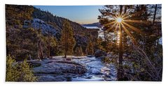 Beach Sheet featuring the photograph Sunrise Over Emerald Bay by Janis Knight