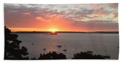 Sunrise Over Fort  Gorges Casco Bay Portland Maine Beach Sheet by Patricia E Sundik