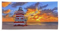 Sunrise Over Lifegaurd Stand On South Miami Beach  Beach Towel by Justin Kelefas