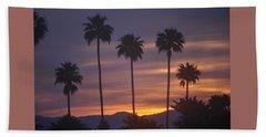 Sunrise Over Mountains Palm Desert Beach Towel by Jay Milo