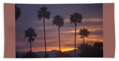 Sunrise Over Mountains Palm Desert Beach Sheet by Jay Milo