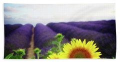 Sunrise Over Sunflower And Lavender Field Beach Towel
