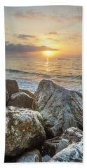 Sunrise Over The Rocks  Beach Towel