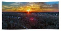 Sunrise Over The Woods Beach Towel
