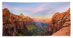 Sunrise Over Zion Canyon - Fall Beach Towel