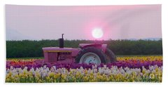 Sunrise Pink Greets John Deere Tractor Beach Sheet