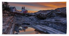 Sunrise Reflections At Pemaquid Point Beach Towel