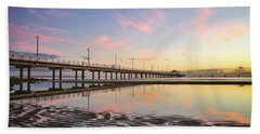Sunrise Reflections At The Shorncliffe Pier Beach Sheet