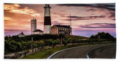 Sunrise Road To The Montauk Lighthous Beach Towel