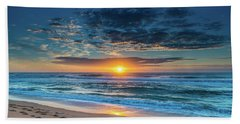 Sunrise Seascape With Footprints In The Sand Beach Towel