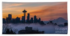 Sunrise Seattle Skyline Above The Fog Beach Towel