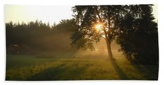 Sunrise Shadows Through Fog Beach Towel by Kent Lorentzen