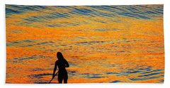 Sunrise Silhouette Beach Sheet by Kathy Long