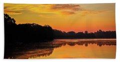 Sunrise Silhouettes - Lake Landscape Beach Towel by Barry Jones