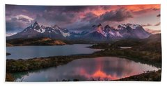 Sunrise Spectacular At Torres Del Paine. Beach Towel