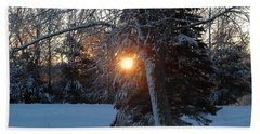 Sunrise Through Branches Beach Towel by Kent Lorentzen