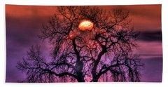 Sunrise Through The Foggy Tree Beach Sheet