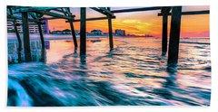 Sunrise Under Cherry Grove Pier Beach Towel