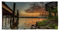 Sunrise Under The Dock Beach Towel