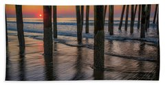 Beach Towel featuring the photograph Sunrise Under The Pier by Rick Berk