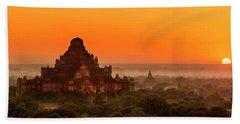 Sunrise View Of Dhammayangyi Temple Beach Towel