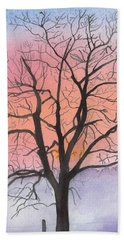 Sunrise Walnut Tree 2 Watercolor Painting Beach Towel