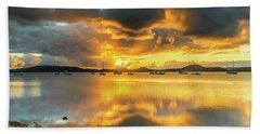 Sunrise Waterscape With Reflections Beach Towel