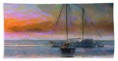Sunrise With Boats Beach Towel