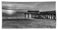 Beach Towel featuring the photograph Suns Up Tybee Pier Bw Tybee Island Georgia Art by Reid Callaway