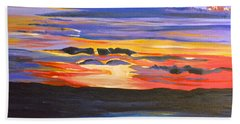 Sunset #5 Beach Sheet by Donna Blossom