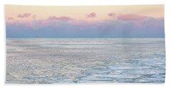 Sunset Across The Frozen Lake Beach Towel