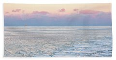 Sunset Across The Frozen Lake Beach Sheet