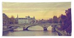 Sunset Across The Seine Beach Towel