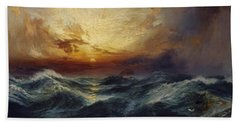 Sunset After A Storm Beach Towel by Thomas Moran