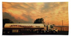 Sunset And A Star Transport Semi Truck Beach Towel